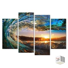 1 PCS 4 Panels Framed Sea wave Scenery Wall Art Pictures Print On Canvas Painting For Home room Decoration Landscape Artwork, Landscape Pictures, Wall Art Pictures, Print Pictures, Framed Wall Art, Canvas Wall Art, Framed Canvas, Reproductions Murales, Arte Pop