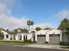 Siding: Benjamin Moore Simply White; front door and garage doors:  Benjamin Moore HC- 168 Chelsea Gray.
