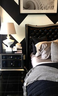 Hollywood Swank bed - black leather and crystal.