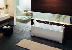 Inspirational Modern Bathtub Designs with Beautiful Vivid Colors : Modern Rectangular Bathtub With Unique Headrests Design