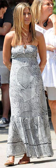 Jennifer Aniston Style and Fashion - Calypso Jada Print Dress - Celebrity Style Guide