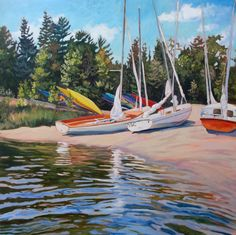 """""""Until Tomorrow"""", Black Creek Beach, The Bruce Peninsula. Acrylic on Canvas Watercolor Paintings, Sailing, Images, Ocean, Canvas, Lake Shore, Sail Boats, Black, Forests"""