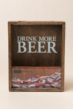 Drink More Beer Wood Beer Cap Shadow Box $36.00