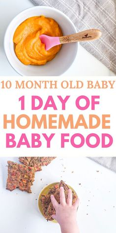 How to make baby food for 10 month old? With an easy to follow schedule with healthy baby food ideas for breakfast and lunch and dinner. #guide #chart #recipes
