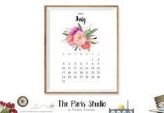 2016 Printable Calendar Instant Download Calendar 2016 Monthly Calendar 2016 Watercolor Floral Calendar Printable Wall Art Calendar
