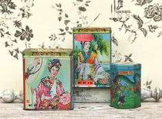 Your place to buy and sell all things handmade Kennedy Town, Asian Tea, Small Tins, Tea Tins, Tin Boxes, Tea Ceremony, Singing, 1930s, Etsy
