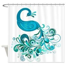Teal Peacock Shower Curtain for