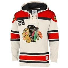 Men's Chicago Blackhawks Old Time Hockey Stone Home Lace Heavyweight Hoodie