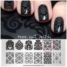 Black Damask Nail Art by @morenailpolish - stamp plate: moyou London Fashionista N°07, Black, Matte Polish #damask