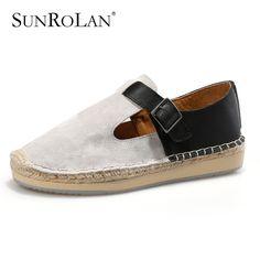 Hebilla del cuero del ante mujeres pescador zapatos de Color mezclado de la mano de coser zapatos de plataforma mujer mocasines de suela de cáñamo zapatos casuales WJ1582(China (Mainland))