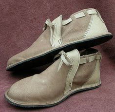 """Leather Handmade Shoes - Tan or Beige Off White Buffalo Hide - """"NO SHOES"""" Vibram Sole Deer Skin Trim - Custom Made Size 5, 6, 7, 8, 9, 10 on Etsy, $184.03 AUD"""