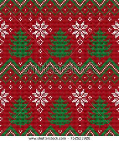Knitted Christmas and New Year pattern Frozen Cross Stitch, Xmas Cross Stitch, Cross Stitch Charts, Cross Stitch Designs, Cross Stitch Patterns, Knitting Charts, Knitting Stitches, Embroidery Stitches, Christmas Embroidery