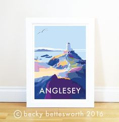 Anglesey travel poster and seaside print by Becky Bettesworth. This is the stunning Twr Mawr lighthouse on Llanddwyn Island on the beautiful isle of Anglesey, Posters Uk, Railway Posters, Quote Posters, Travel Posters, Poster Prints, Retro Quotes, Anglesey, Snowdonia, Picture Sizes
