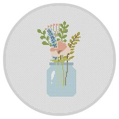 Flowers PDF Cross Stitch Pattern Flower Arrangement Modern cross stitch pattern…