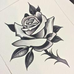 Rose Stem Tattoo, Rose Tattoo Stencil, Rose Drawing Tattoo, Skull Rose Tattoos, Tattoo Outline, Tattoo Sketches, Flower Tattoos, Tattoo Drawings, Dibujos Tattoo