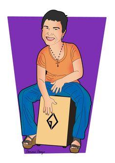 Caricatura Cartunizada de Lela Dias (percussionista) quando a mesma tocava no Balaio.