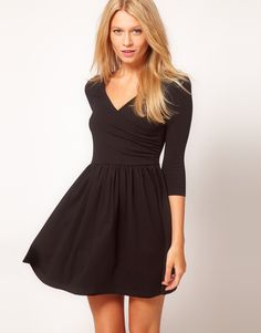 skater dress with ballet wrap, great with a a pair of tights and some boots for a comfortable work outfit