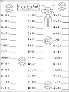 Free Pete The Cat Doubles Practice. Includes Doubles Plus One and Doubles Minus One. Not For Profit.For Educational Use Only. Regina Davis at Fairy Tales And Fiction By Math Doubles, Doubles Facts, Doubles Worksheet, Math Resources, Math Activities, Dinosaur Activities, Math Addition, Doubles Addition, Go Math