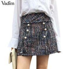 Vadim女性真珠織りミニスカートヴィンテージ段faldas mujerサイドジッパーヨーロッパスタイルのファッションストリートシックなスカートBSQ650