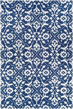 Create a contemporary look and feel with this Couristan Crawford Tulip Floral Lattice Wool Blend rug. Blue Ivory, Blue And White, Transitional Area Rugs, Tile Patterns, Paper Patterns, Pattern Art, Pattern Design, Kitchen Wallpaper, White Area Rug