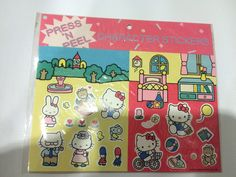 Sanrio 1988 Hello Kitty press n peel Sticker Sheet. by TownOfMemories on Etsy