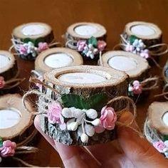 Söz Nişan Düğün Nikah Hediyelikleri - 100 Adet Dekoratif Kütük Mumluk Süsleri - 200 Mum Hediyeli