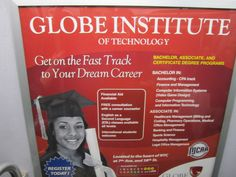 Spotted on the subway: An ad for Globe Institute of Technology, a for-profit trade school. Ironically, directly across was a great ad campaign to warn New Yorkers about for-profit trade schools (see nursing school ad I pinned).