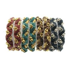 Leather and Chain Braided Wrap Bracelet