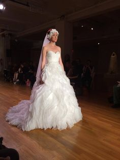 Strapless wedding ball gown with textured ruffles #AngeloAccess