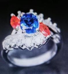 Red, White And Blue Crystal Ring