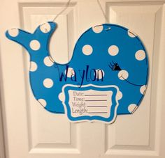 Your place to buy and sell all things handmade Hospital Door Signs, Baby Door Hangers, Welcome Baby Girls, Birth Announcement Girl, Spring Door, Monogram Gifts, Paint Party, Baby Crafts, Wooden Doors