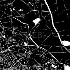 Tianjin, China, downtown vector map.  Art print pattern. White streets, railways and water on black. Bigger bridges with outlines. This map will show ... ... #map #downloadable #background #vector #design