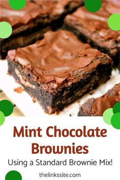 These are the easiest mint brownies you will ever make! All you need is a boxed brownies mix (with ingredients) and some after dinner mints (also called After Eights). The hardest part is waiting for them to cool off so you can eat them! thelinkssite.com #brownies #mintbrownies #brownierecipe #mint Easy Nutella Brownies, Chocolate Mint Brownies, Best Chocolate Cupcakes, Boxed Brownies, Chocolate Covered, Delicious Cookie Recipes, Brownie Recipes, Sweet Recipes, Baking Recipes