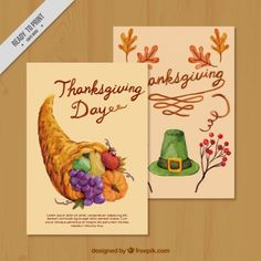 Watercolor greeting cards of thanksgiving Free Vector