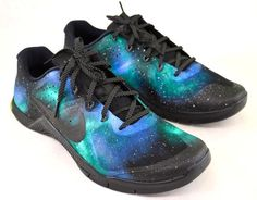 Custom Nike Metcon 2 - Hand Painted Green & Blue Galaxy - B Street Shoes