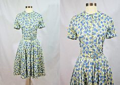 D E T A I L S Soft, lightweight polished cotton dress just in time for warmer weather. Features a pointed flat collar, tuxedo pleats, and original belt! Step into to put on, closes with fabric covered buttons, with a hook and eye closure and snap closure at waist. C O N D I T I O N Dress is in excellent condition, only flaw to note is that the belt looks yellowed from age and has some light brown marks. Also, very minor pilling under the arms. M E A S U R E M E N T S Bust: 38.5 Waist: 28…