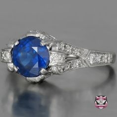 Deco Sapphire Engagement Ring