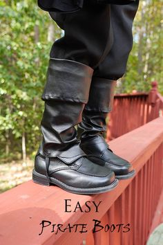 Every pirate needs a good pair of boots. These fake boot toppers are super easy to whip up for your aspiring swashbuckler. It started with a pair of pleather pants. That sounds like the first sentence of a crazy story…but...