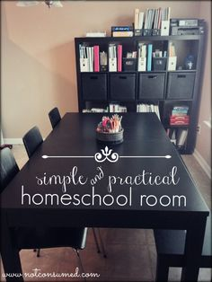A homeschool room should be simple, practical, and central. Come see why this works for well for our family!
