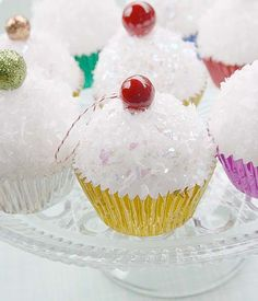 Cupcake decorations that are not real. Those guests that have been hitting the eggnog might try and eat one, so use caution!