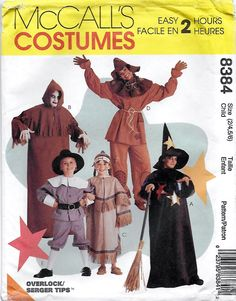 McCalls 8384 Child's Halloween Costume Sewing Pattern Breast Chest 21 to 25…