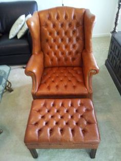 ethan allen wingback leather chair