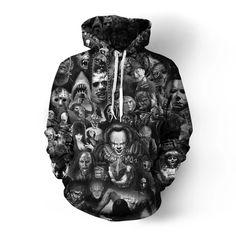 maduang Unisex Hoodies Print Horror Clown Couple Sweatshirt for Men Women … Black Funny Sweatshirts, Hooded Sweatshirts, Sweater Weather, Skull 3d, Pula, Cartoons, Horror Movies, Horror Movie Hoodies, Horror Cartoon