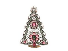 Large Czech rhinestone Christmas tree ornament decoration pink and clear Christmas Tree Baubles, Ball Ornaments, Decorative Bells, Jewelery, Art Deco, Table Decorations, Pink, Handmade, Vintage