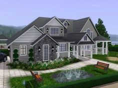 Villa Lora is large family villa with two floors. Found in TSR Category 'Sims 3 Residential Lots' Sims 4 House Building, Sims House Plans, House Floor Plans, The Sims, Sims 3 Houses Ideas, House Ideas, Muebles Sims 4 Cc, Sims 4 House Design, Suburban House