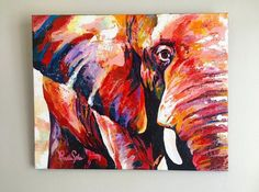 Colorful Elephant Painting on canvas Colorful Elephant, Elephant Art, Abstract Canvas, Canvas Art, Arte Pop, Animal Paintings, Painting Techniques, Painting Inspiration, Original Paintings