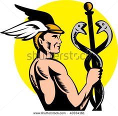 illustration of Roman Greek God Hermes or mercury holding a caduceus #Hermes #woodcut #illustration