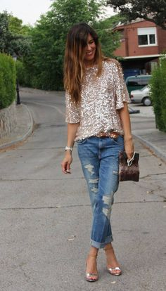Love me some statement sequins paired w something casual!