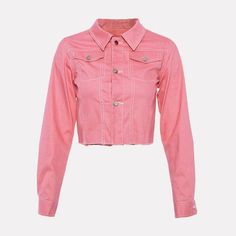 3139663fd8b Pink Long Sleeve Jean Jacket. Denim JacketsJacket ButtonsLong Sleeve Crop  TopVestsVest ...