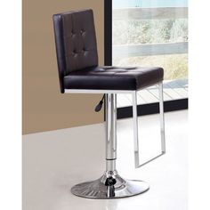 Exclusive uk Verlo brown PU leather and chrome barstool. This brown verlo barstool is ultra modern, with its buttoned seatpad and back rest. It also features a chrome footrest, which would give you comfort all round. Now available at www.emporiumhomeinteriors.co.uk